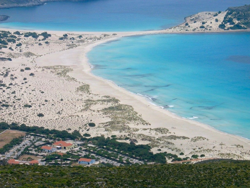 view from the top of simos beach in elafonisos