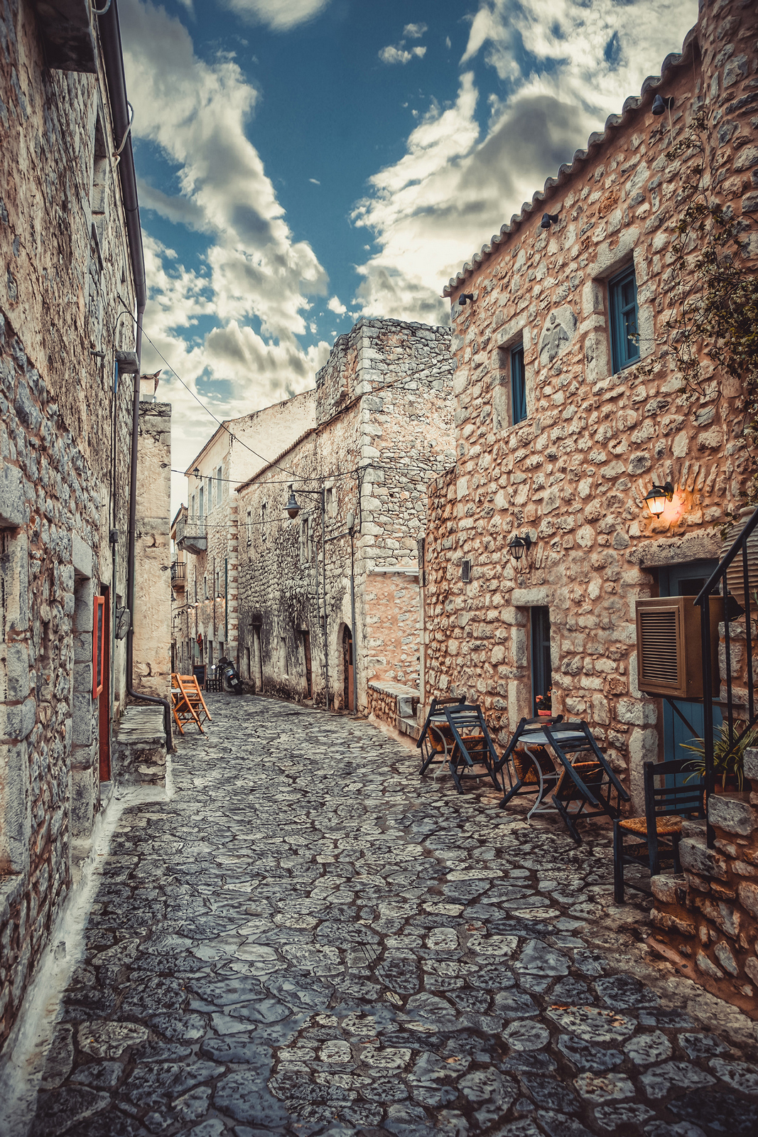 areopoli stone paved street
